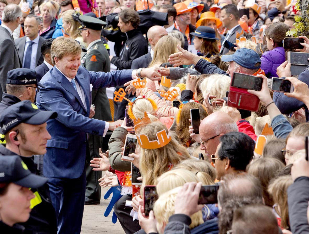 Král Vilém Alexandr na oslavách v Groningenu