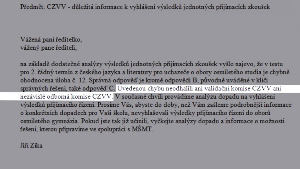 Chybu obsahovaly nejen testy, ale také e-mail, kterým na ni Cermat ředitele škol upozornil