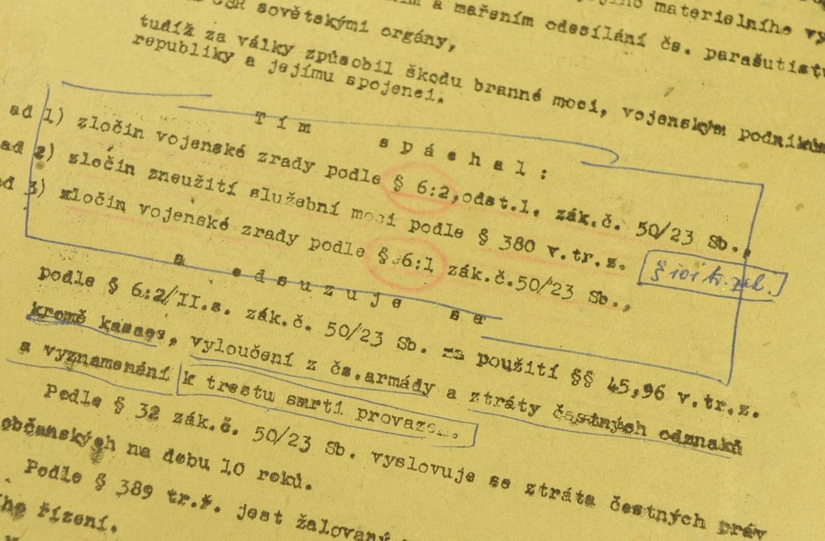 Detail druhé strany rozsudku z 28. ledna 1949