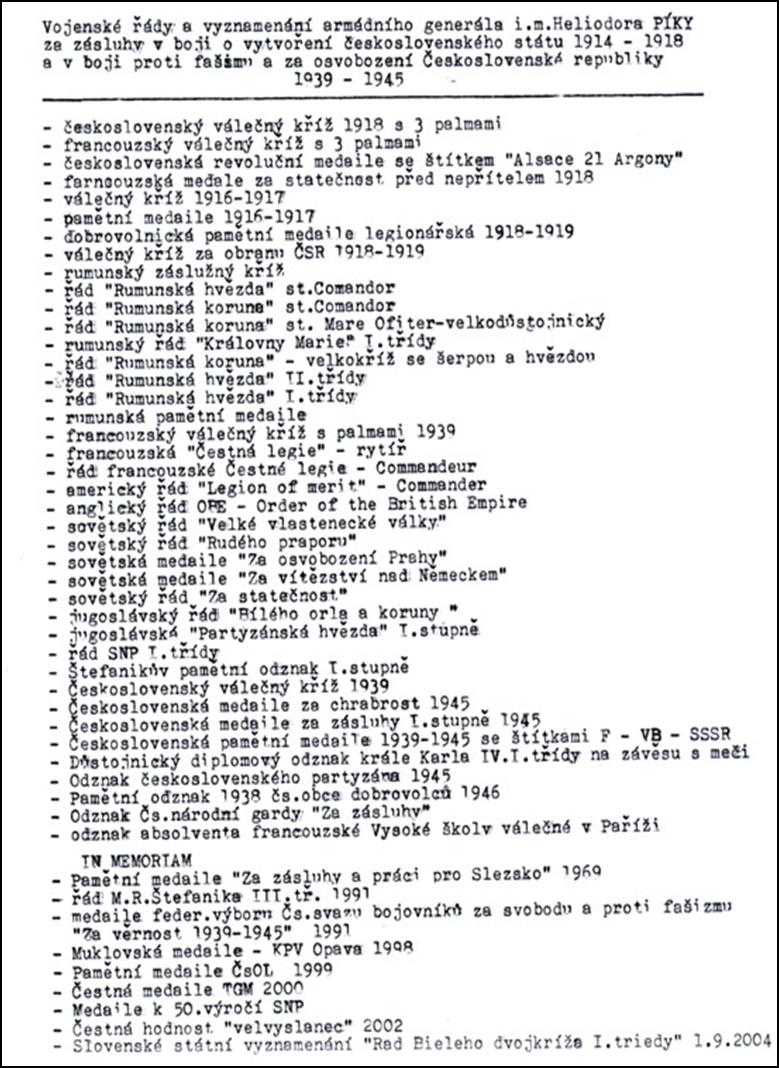 Seznam vojenských řádů a vyznamenání generála Heliodora Píky