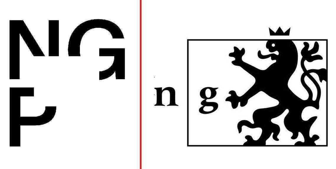 Původní (vpravo) a nové logo Národní galerie Praha