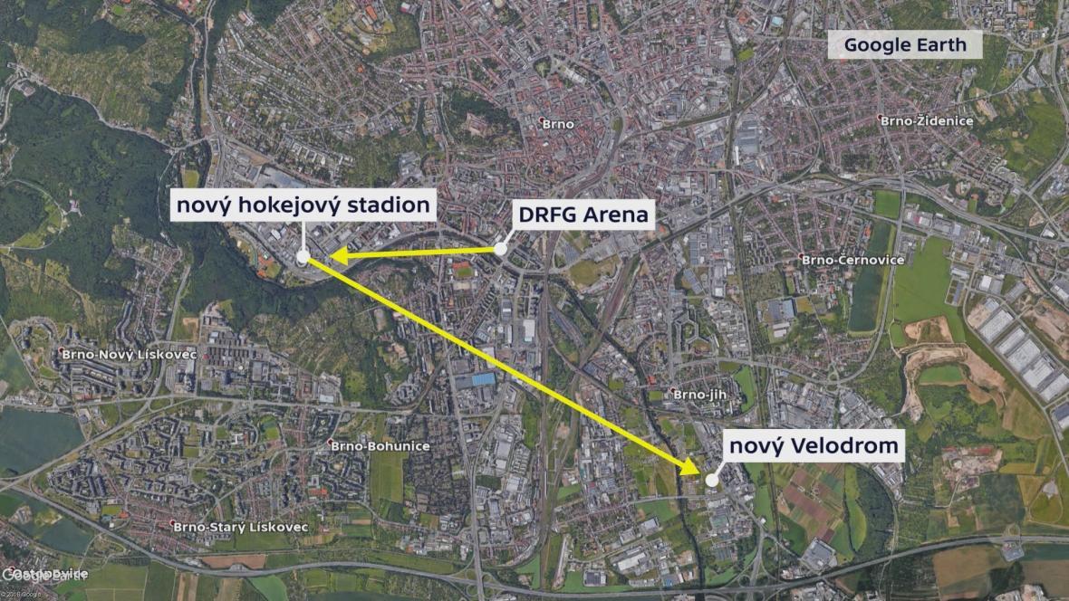 Mapa umístění stávajících a nových sportovišť v Brně
