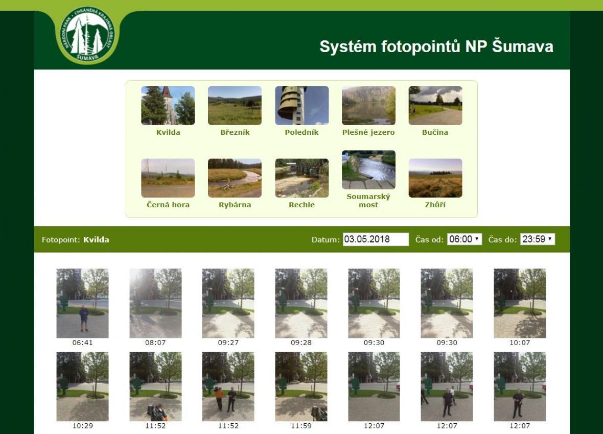 Snímek lidé najdou na webové stránce národního parku, kde je veřejně dostupný