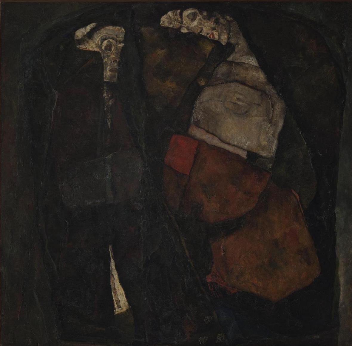 Egon Schiele / Těhotná žena a smrt, 1911