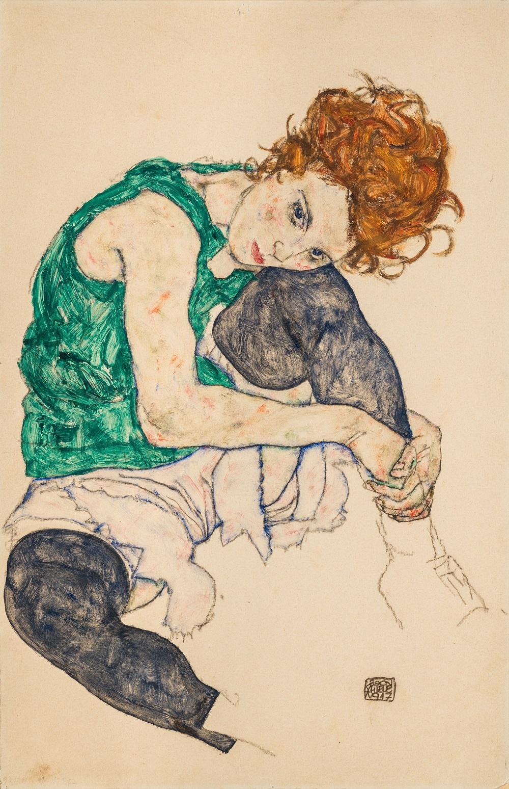 Egon Schiele / Sedící žena s pokrčenými koleny, 1917