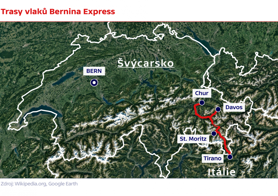Trasy vlaků Bernina Express