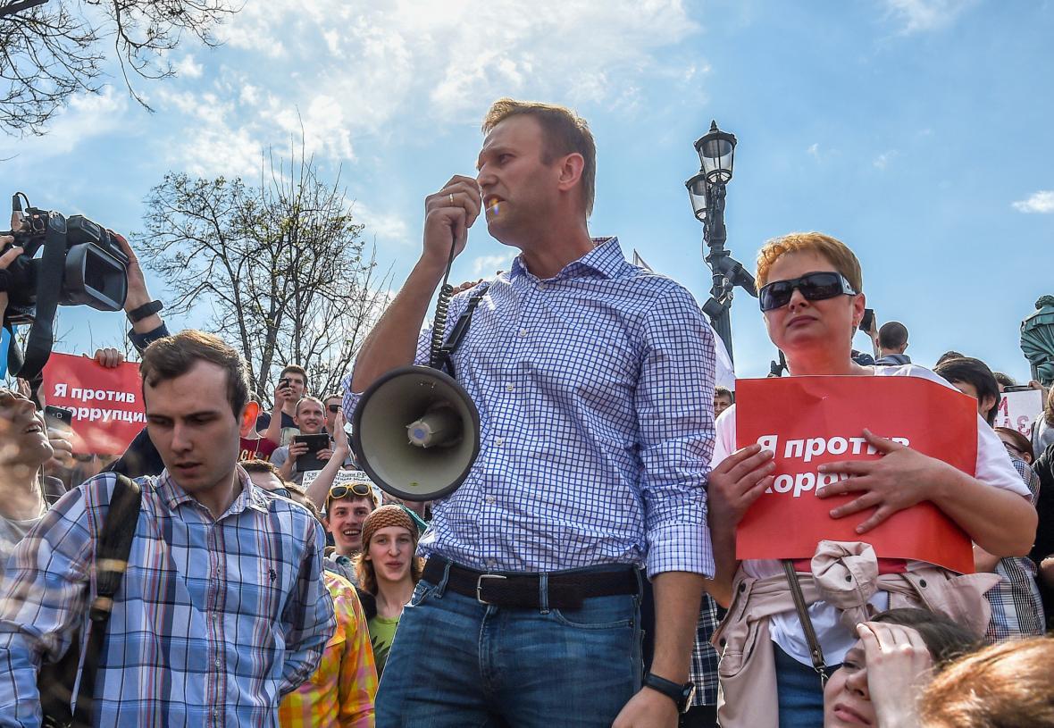 Alexej Navalnyj na protestu v Moskvě