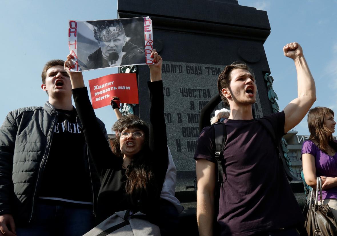 Protest proti Putinovi v Moskvě