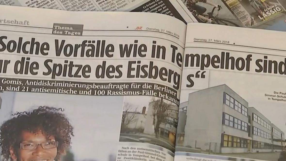Německý tisk informuje o antisemitských útocích