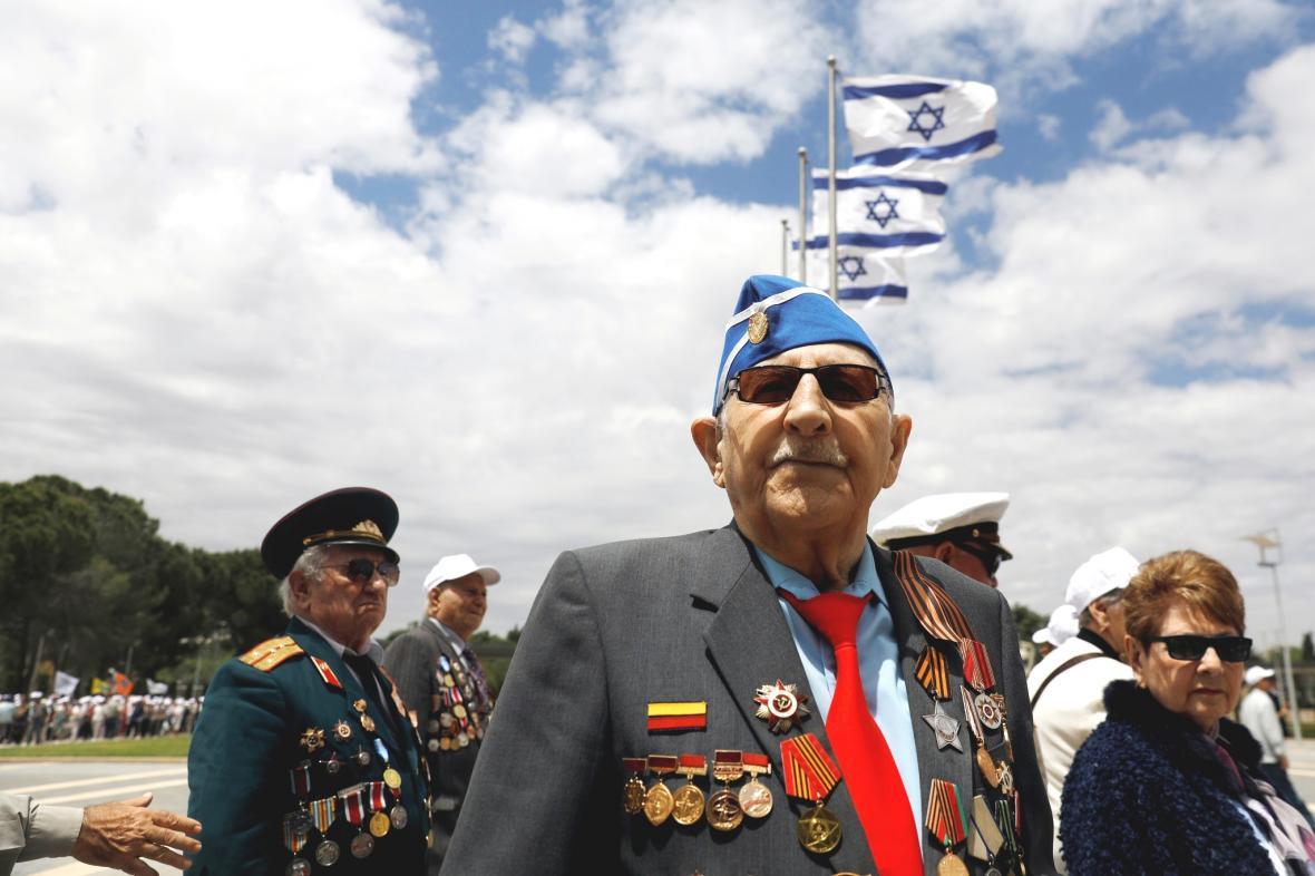 Veteráni druhé světové války při vzpomínce na konec 2. světové války v Jeruzalémě