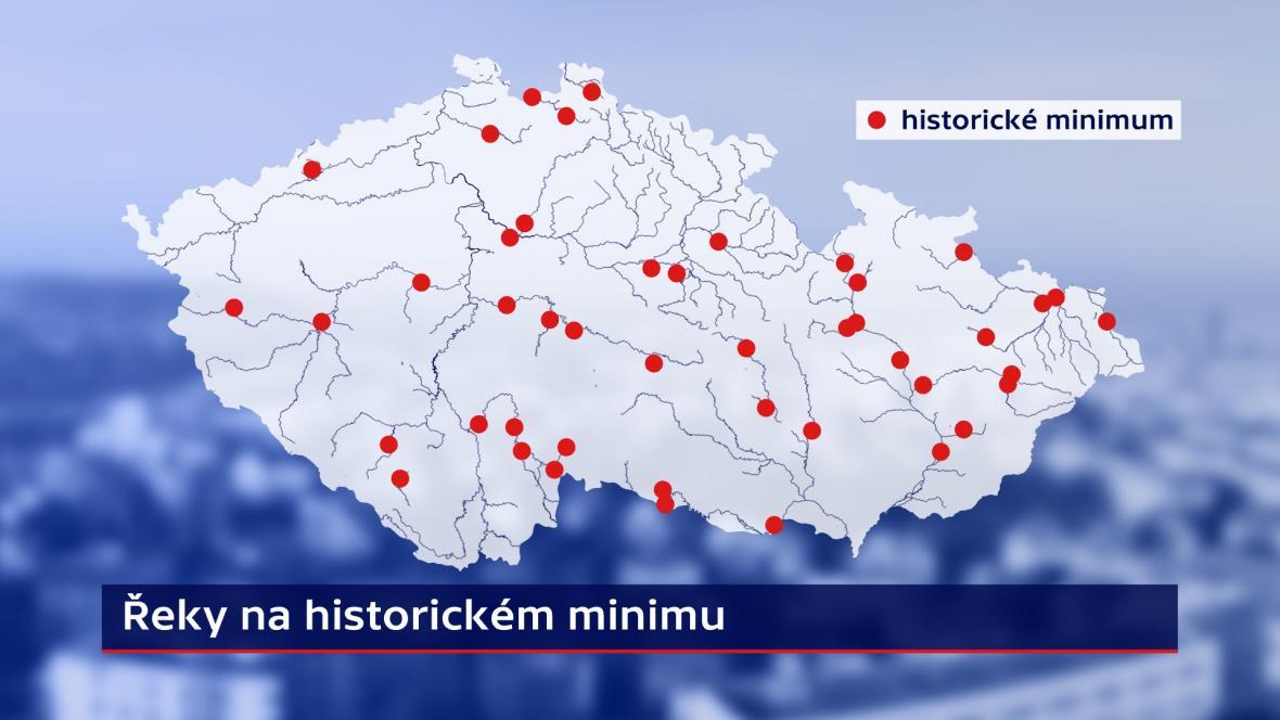 Řeky na historickém minimu k 8. 5. 2018