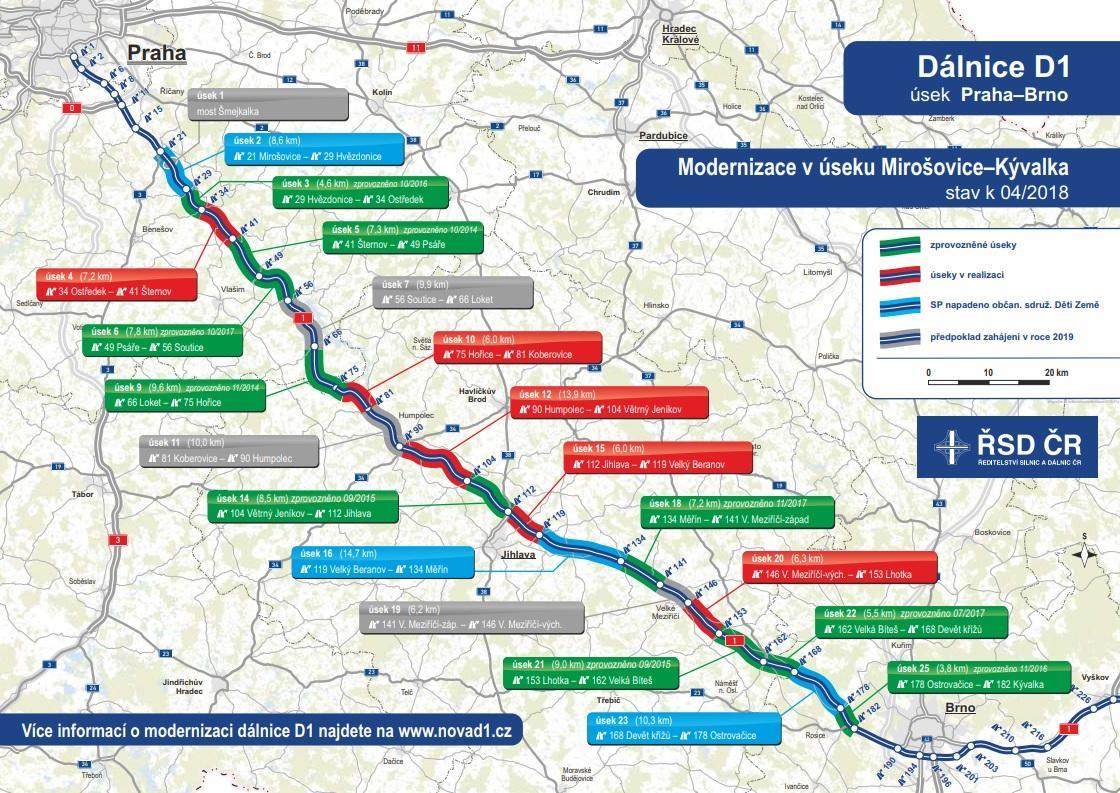 Mapa modernizace D1