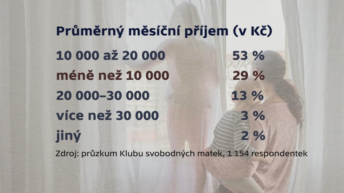 Průměrný měsíčný příjem samoživitelek