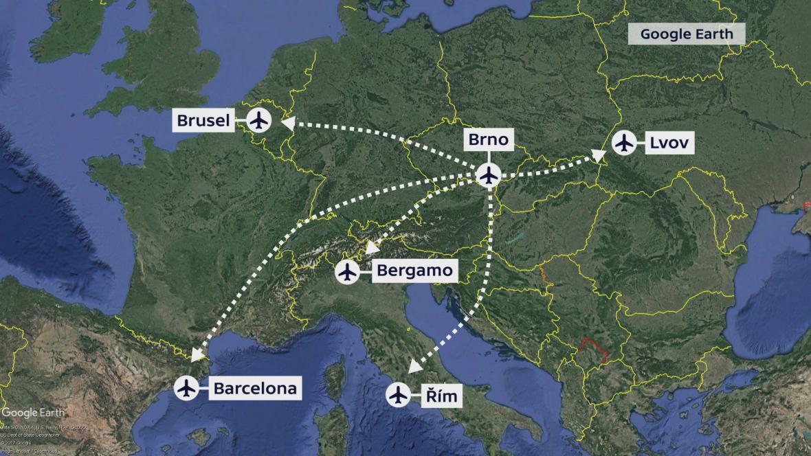Plánované lety z Brna