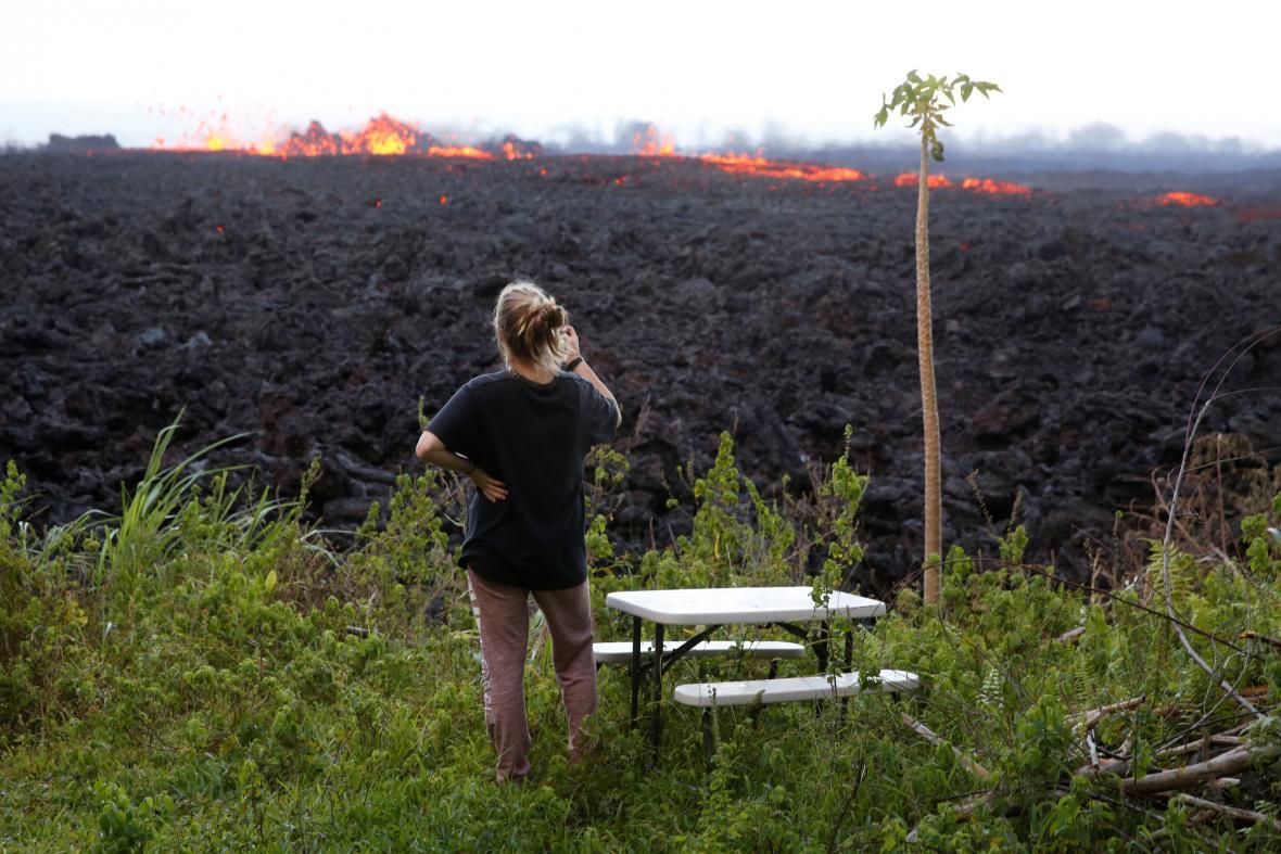 Erupce sopky na Havaji