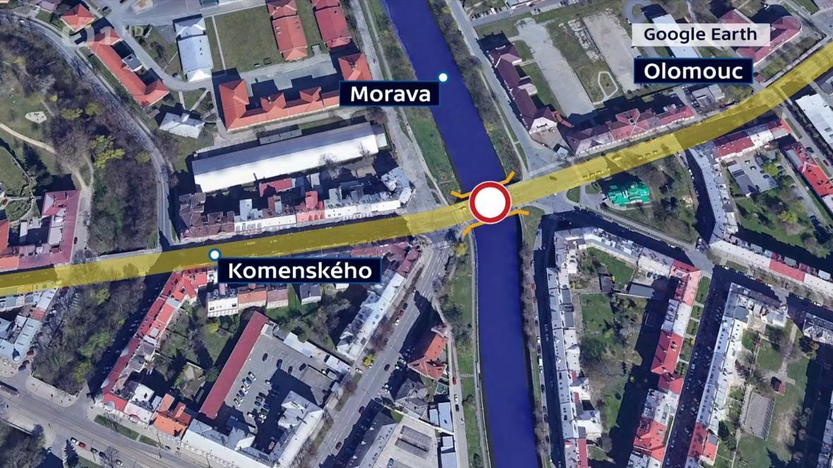 Uzavřená komunikace v Komenského ulici