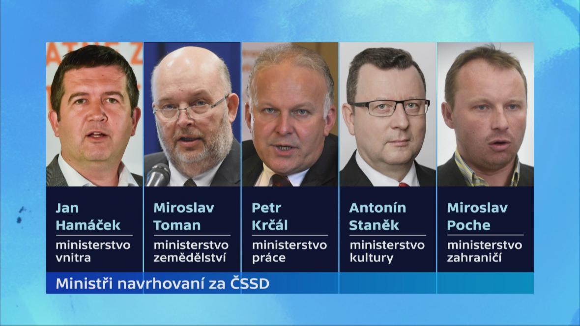 Ministři navrhovaní za ČSSD