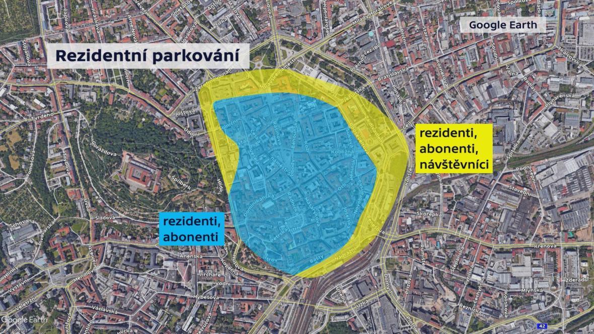 Rezidentní parkování v centru Brna