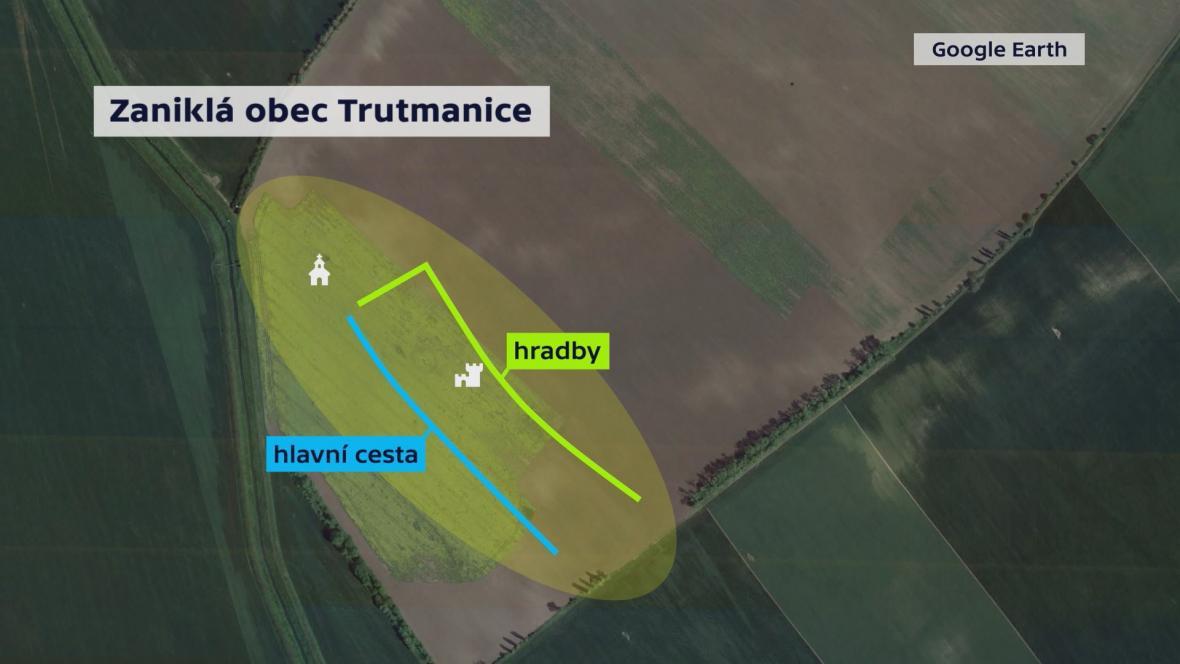 Nákres zaniklé obce Trutmanice u Velkých Pavlovic