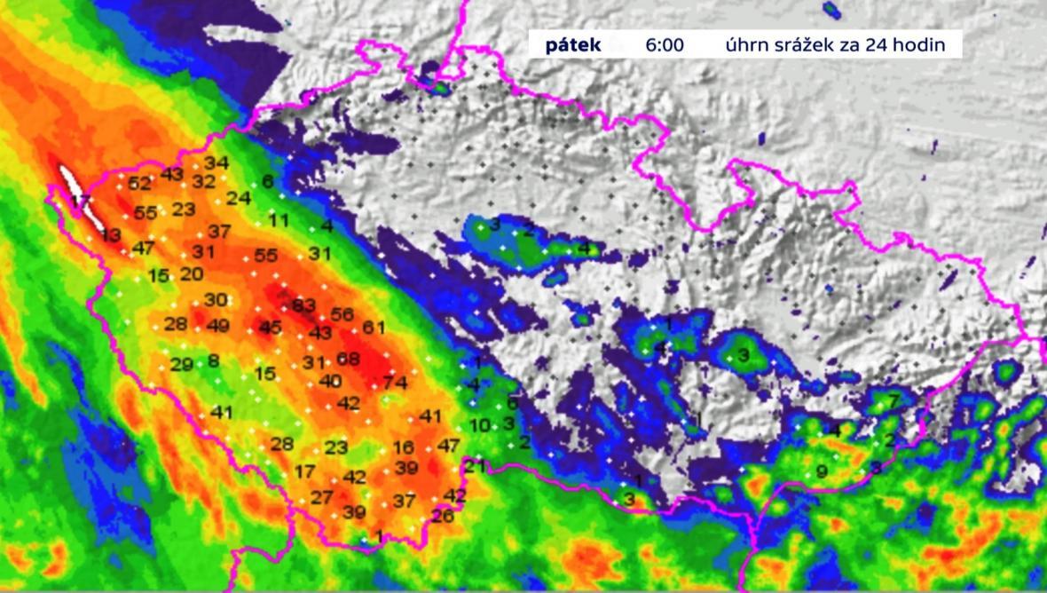 Pršelo hlavně v jihozápadní části Čech, nejsilněji v Brdech