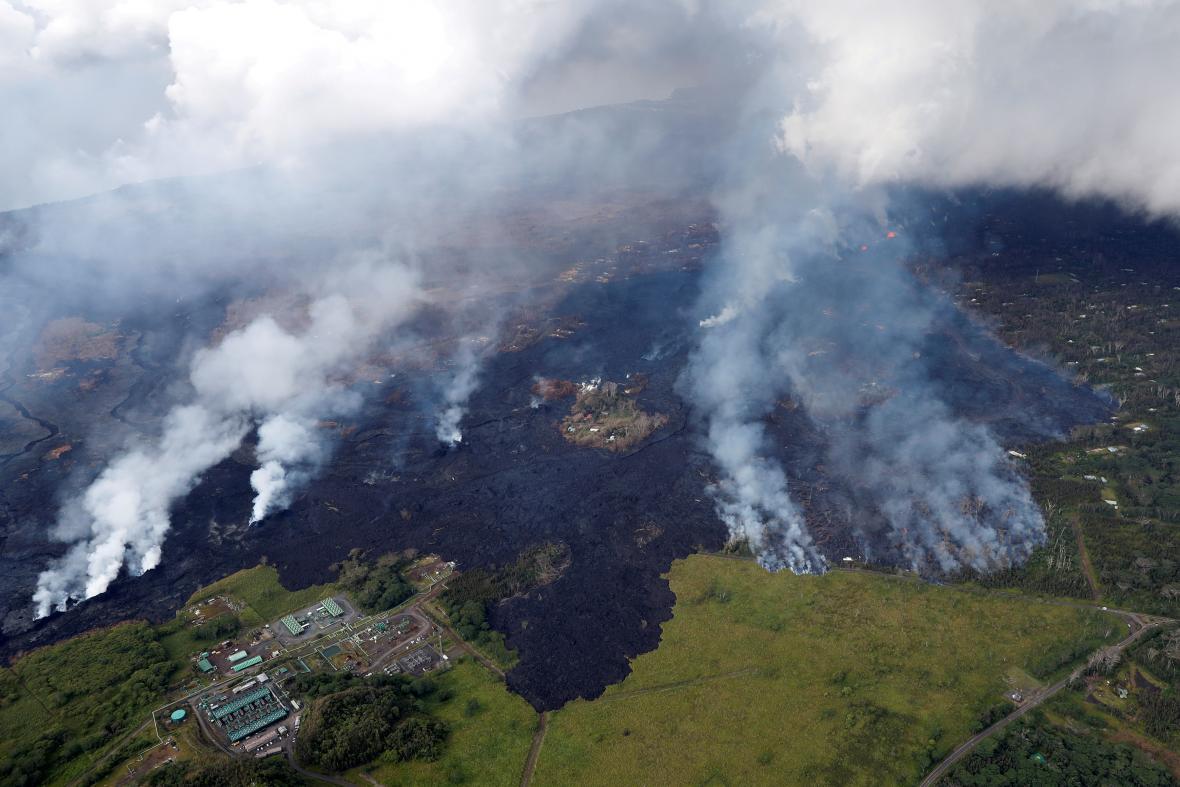 Letecký snímek soptícího Havaje