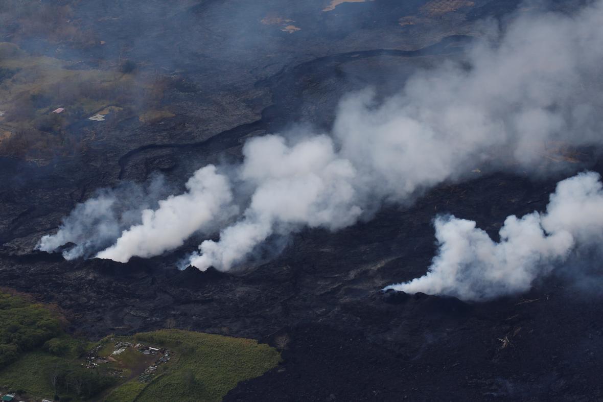 Letecké snímky soptícho Havaje