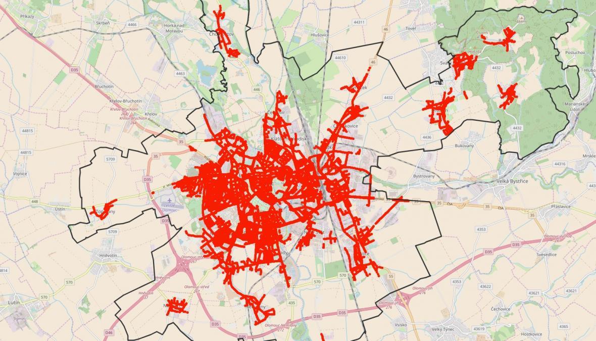 Mapa pouličního osvětlení Olomouce