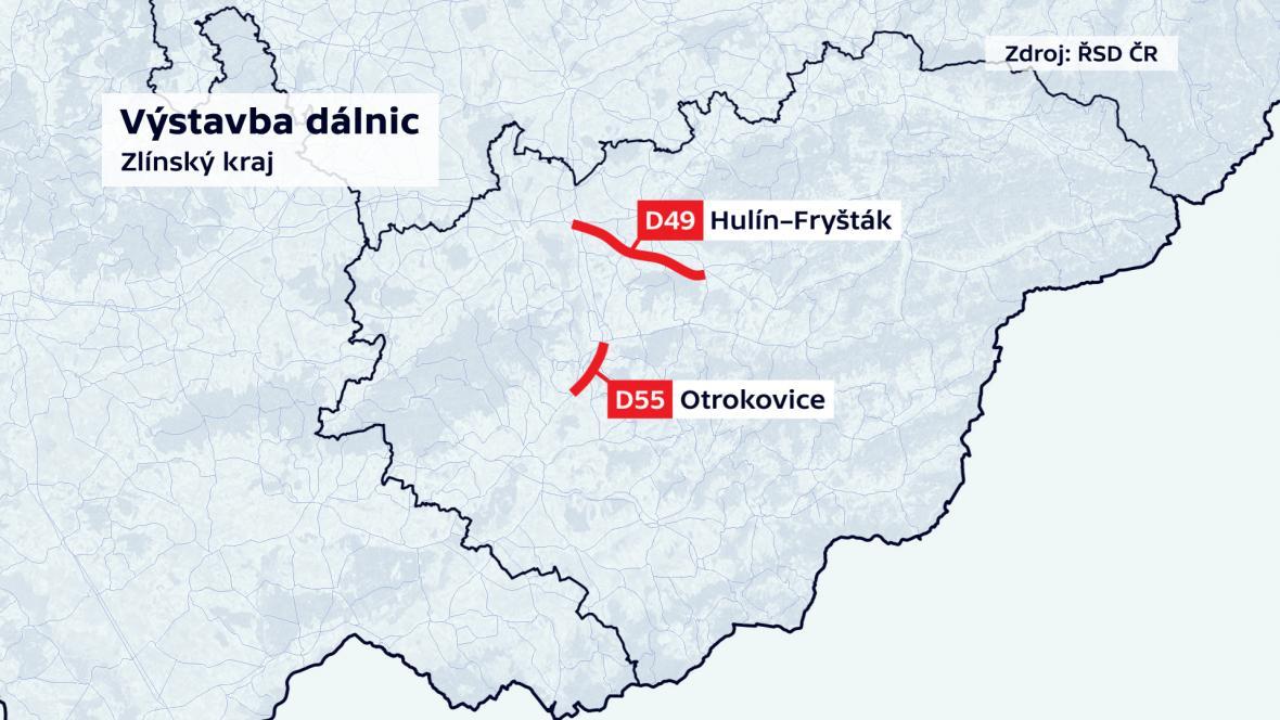Plánovaná výstavba dálnic ve Zlínském kraji