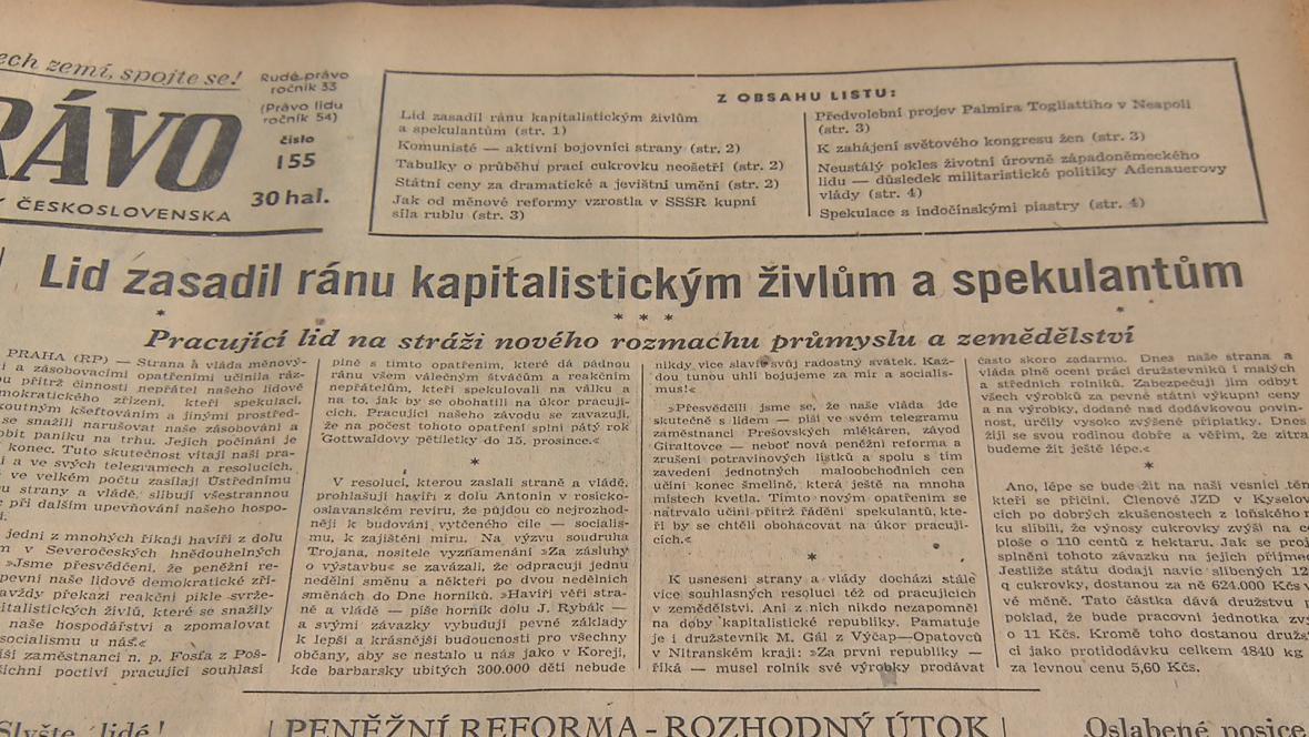 Rudé právo v době měnové reformy roku 1953