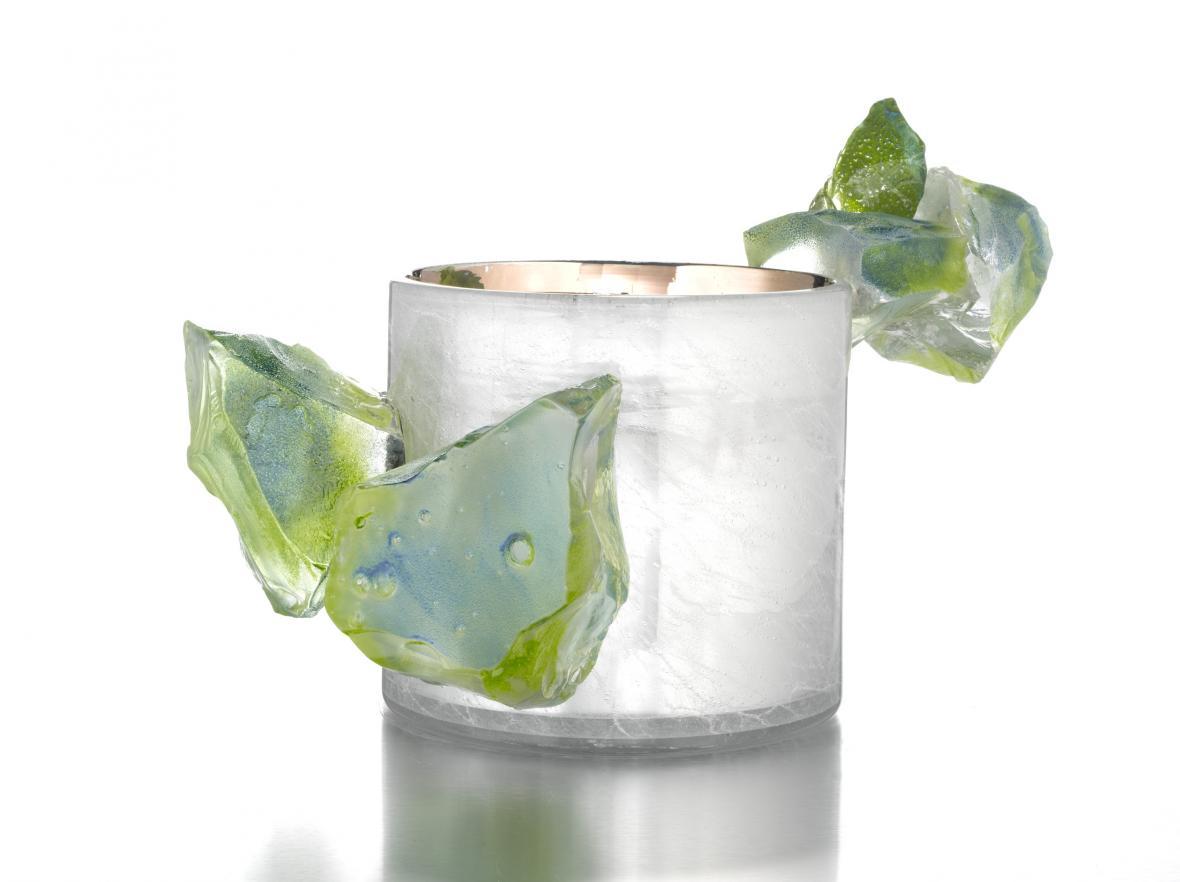Dal Chihuly / Silvered Jerusalem Cylinder With Jade Crystals, 2010
