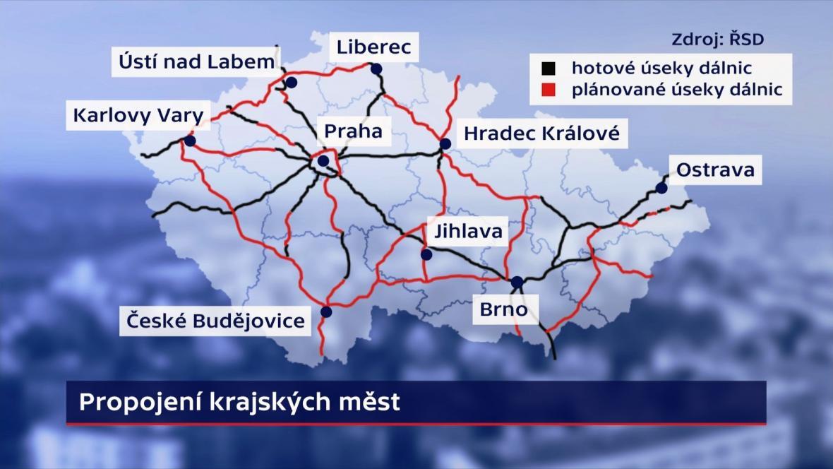 Plány dálniční propojení krajských měst
