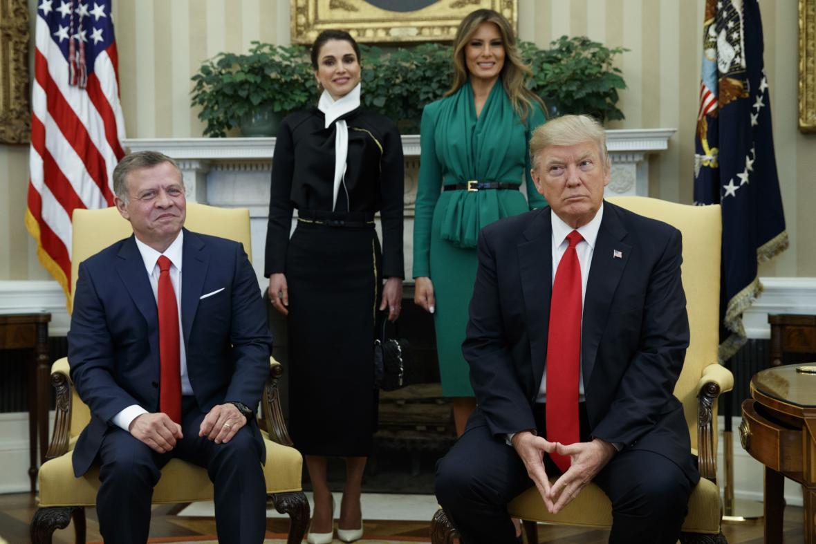 Jordánský král Abdalláh II. s americkým prezidentem Donaldem Trumpem