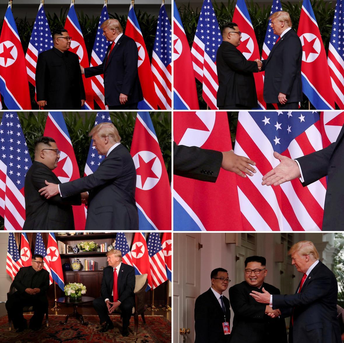Donald Tump s Kim Čong-unem se několikrát potřásli rukou