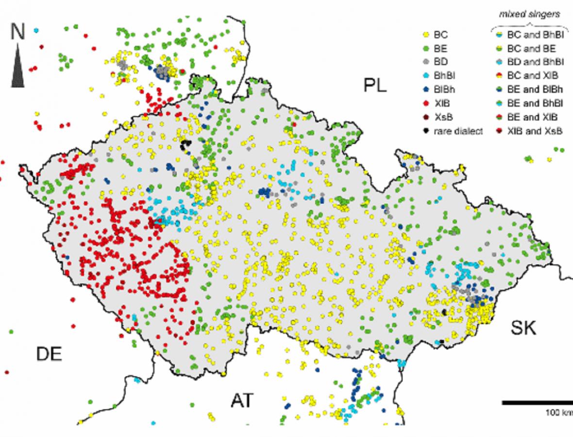 Mapa dialektů našich strnadů