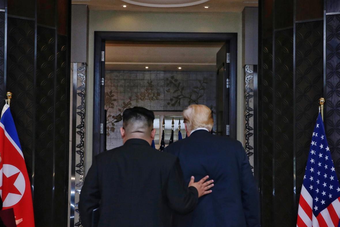Kim Čong Un s Donaldem Trumpem
