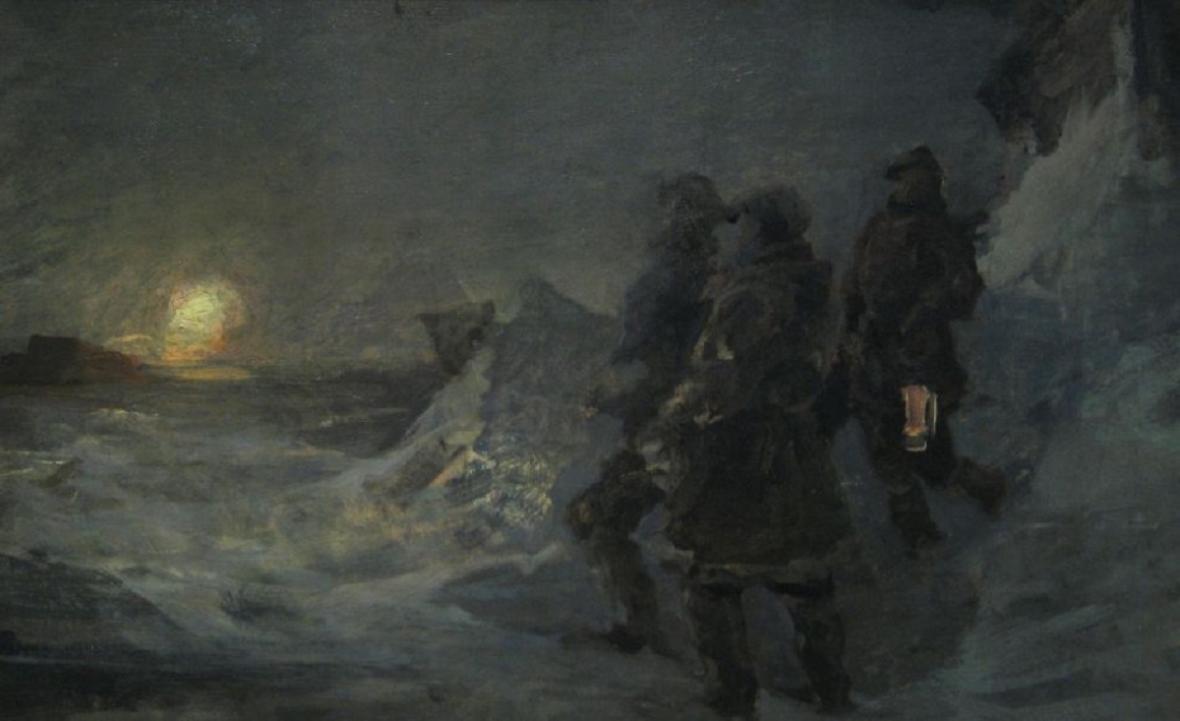 Julius Payer: Polární krajina se třemi muži