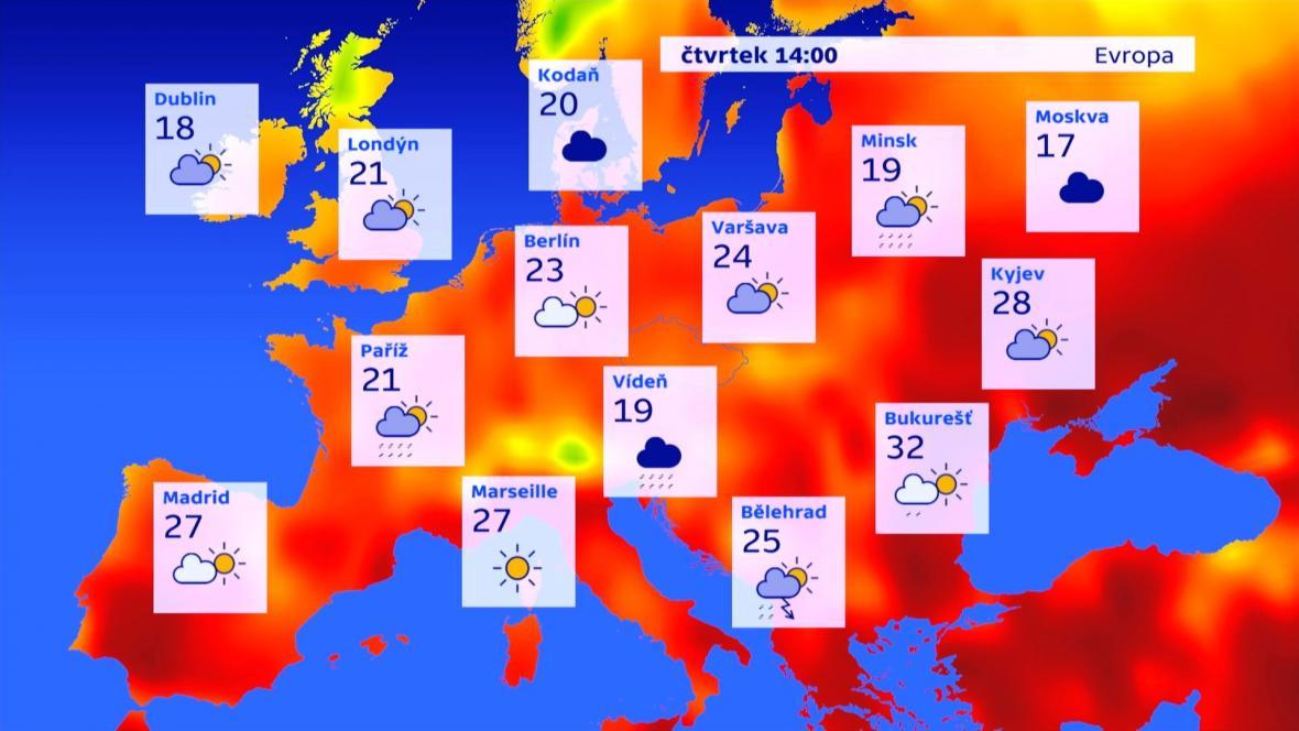 Teploty v Evropě