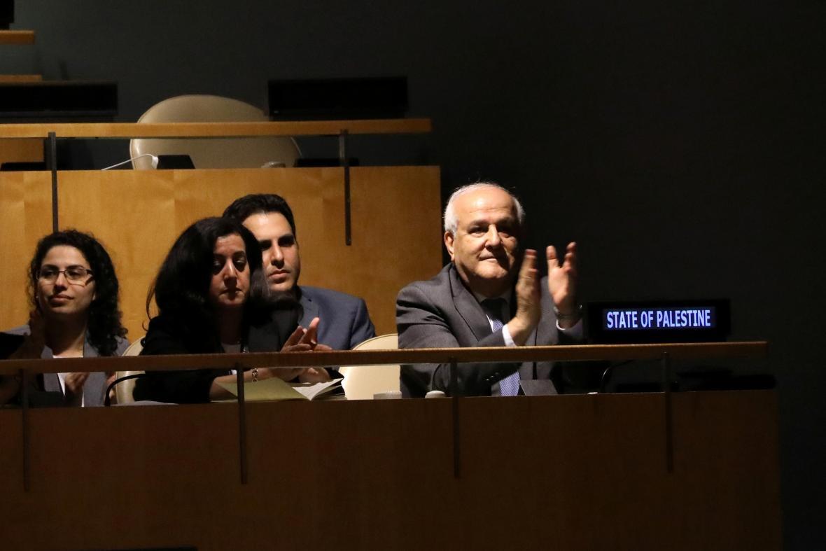 Zástupce Palestiny Rijád Mansúr