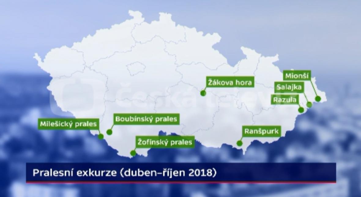 Mapa pralesů v ČR