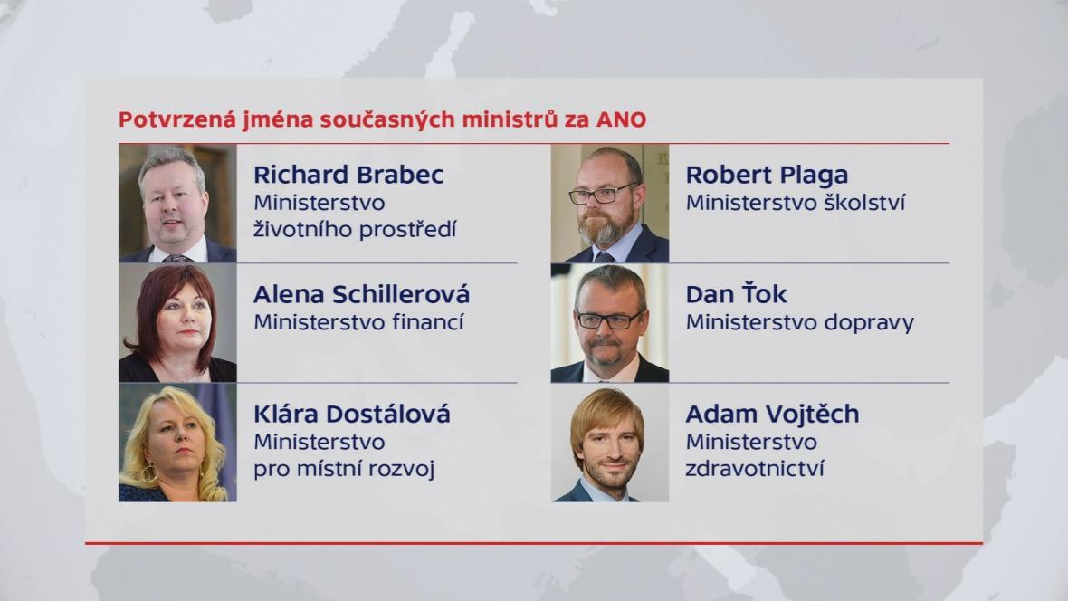 Šest stávajících ministrů má pokračovat