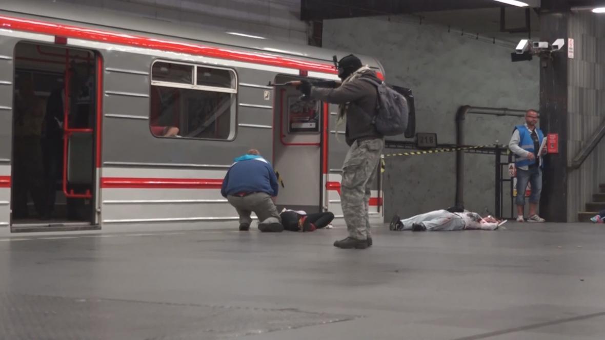 Protiteroristické cvičení v metru