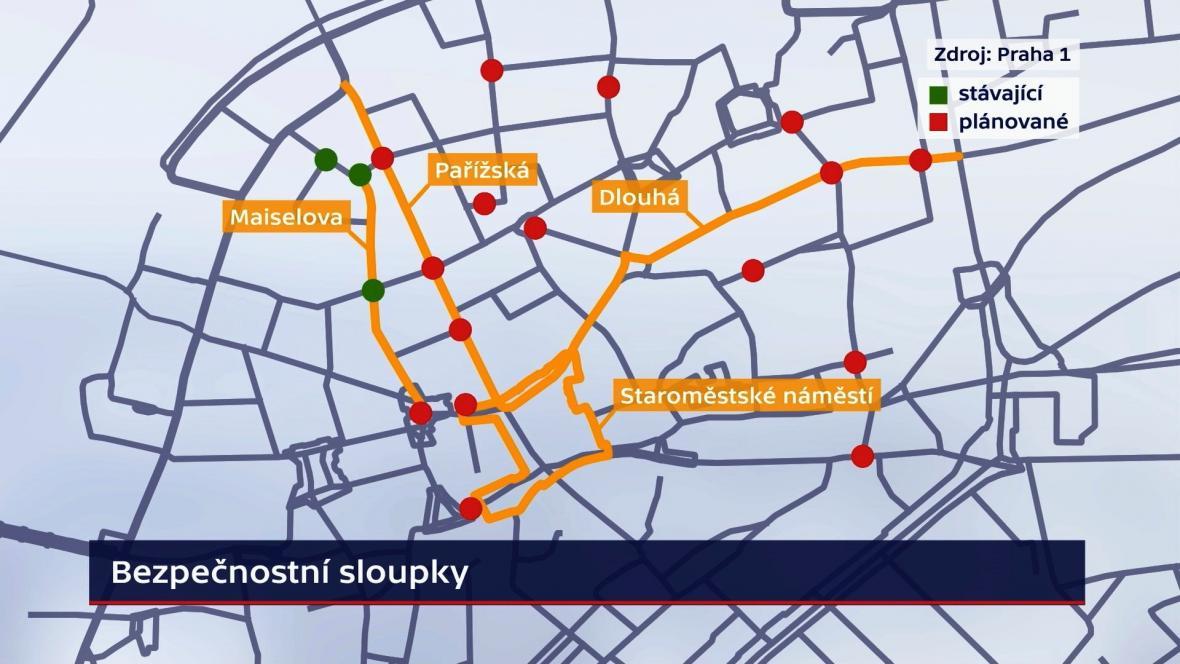 Rozmístění bezpečnostních sloupků v Praze