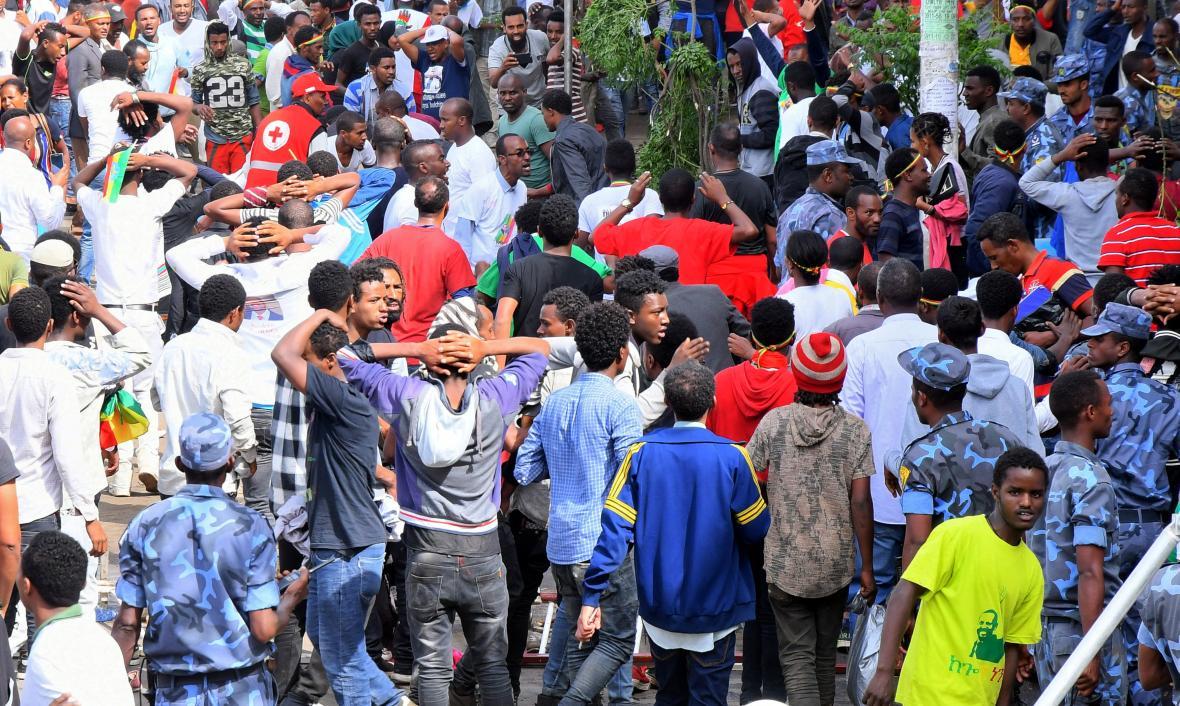 Mítink etiopského premiéra, na němž došlo k explozi