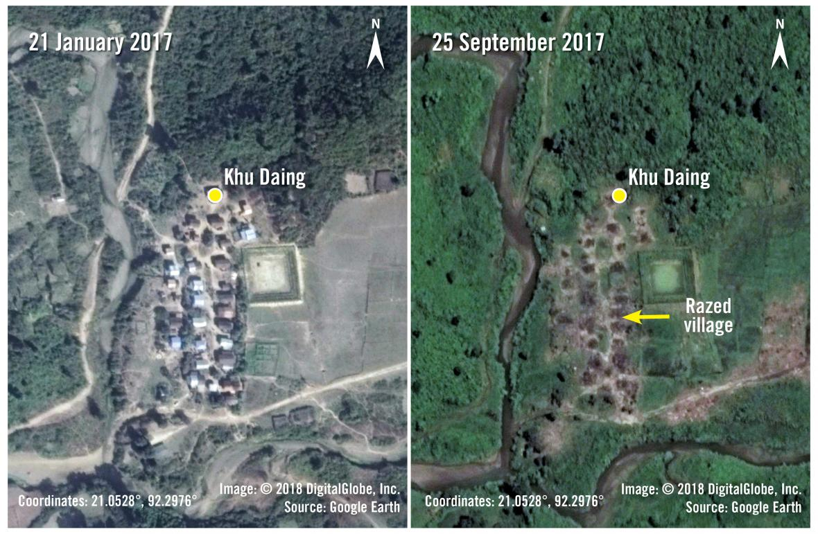 Satelitní snímky zničené vesnice v Myanmaru