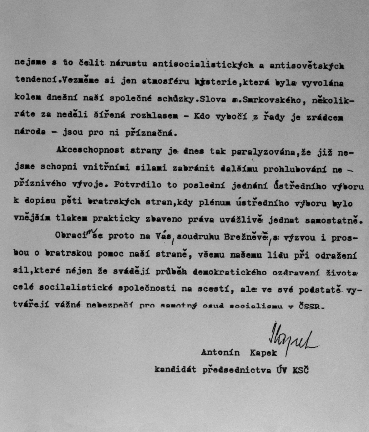 Kopie zvacího dopisu Antonína Kapka
