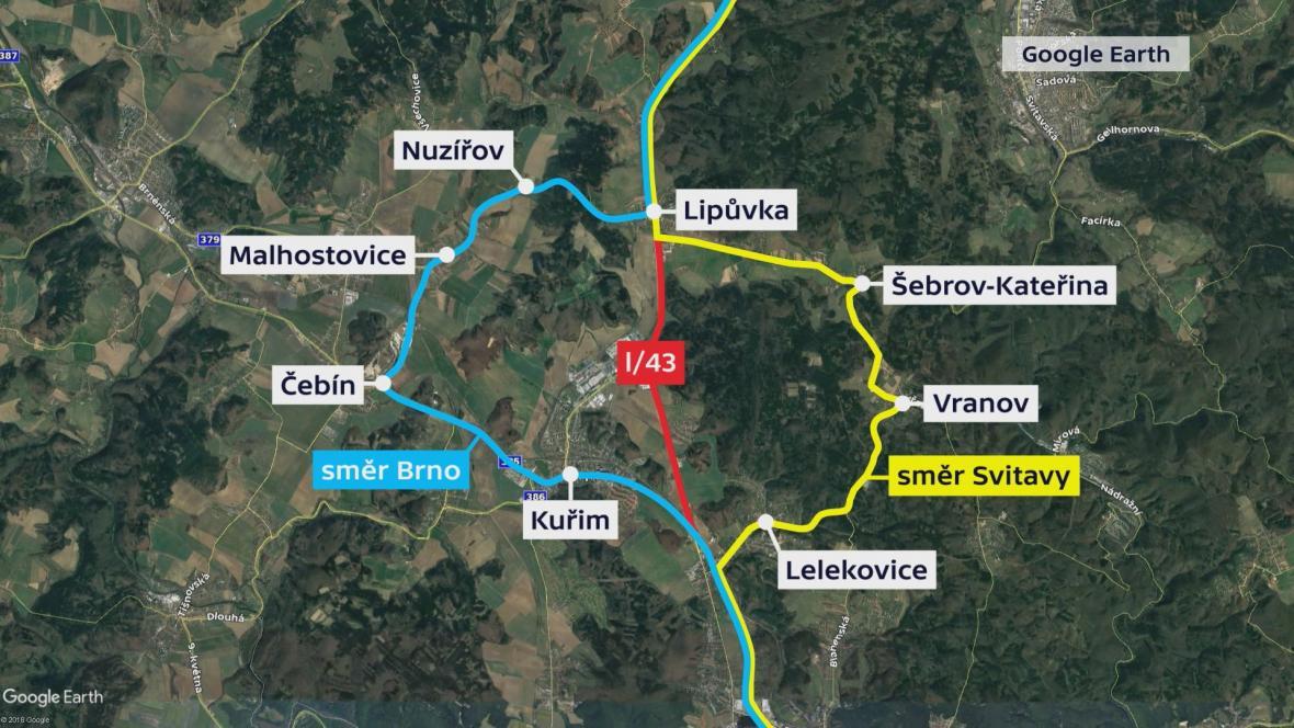Objízdné trasy I/43