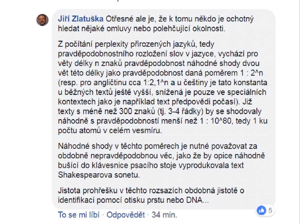 Vyjádření Jiřího Zlatušky na Facebooku