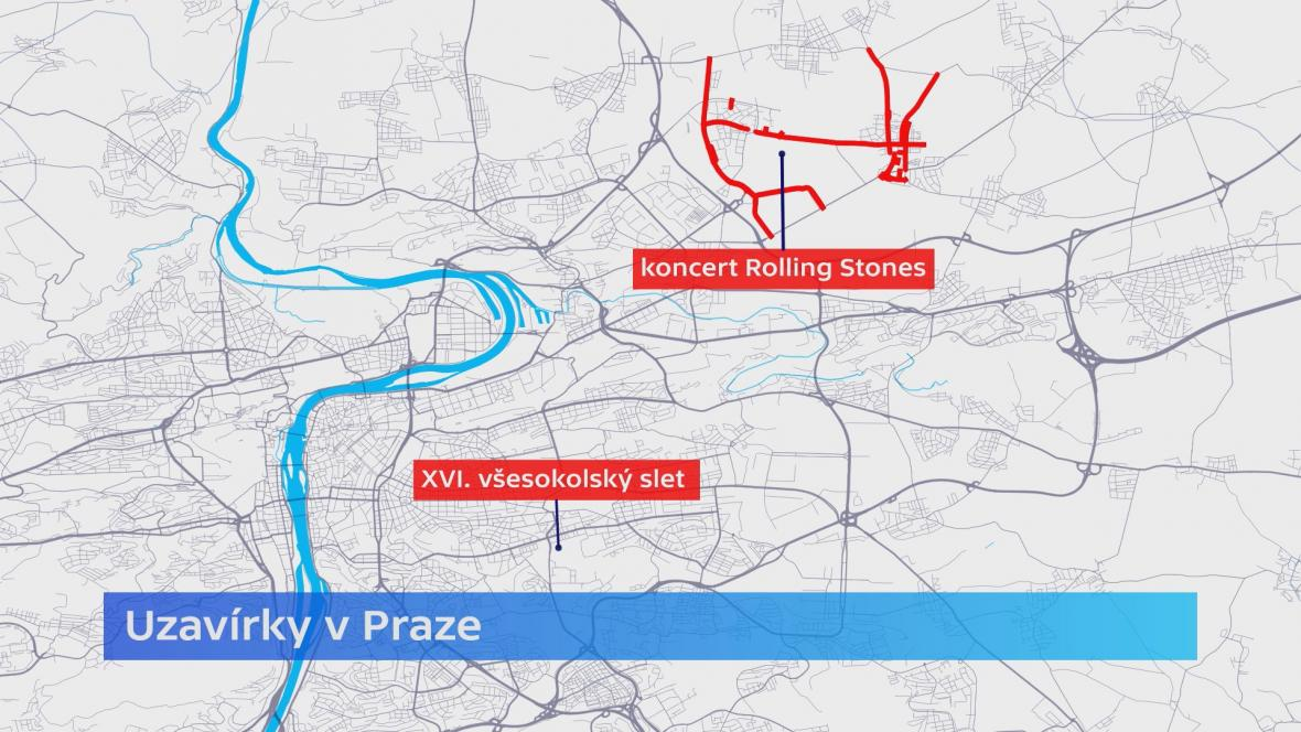 Uzavírky kvůli mimořádným akcím v Praze