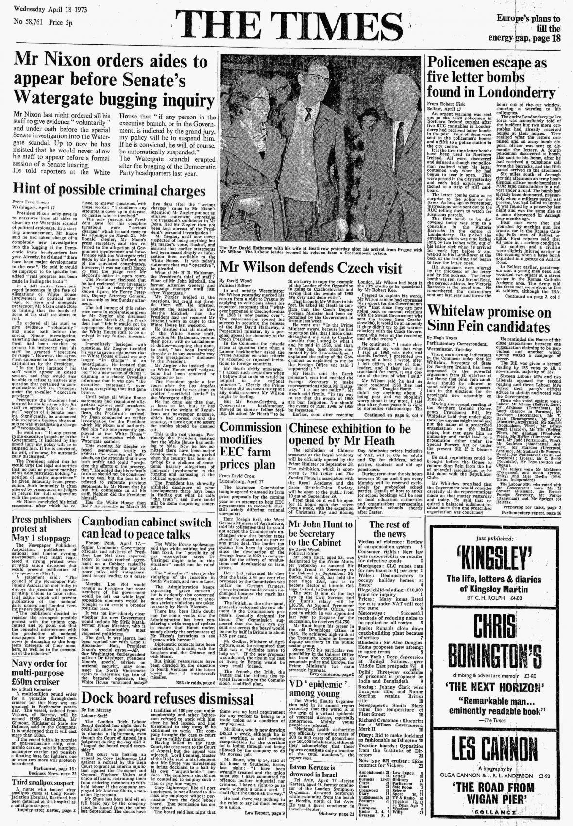 Článek v britských The Times z 18. dubna 1973
