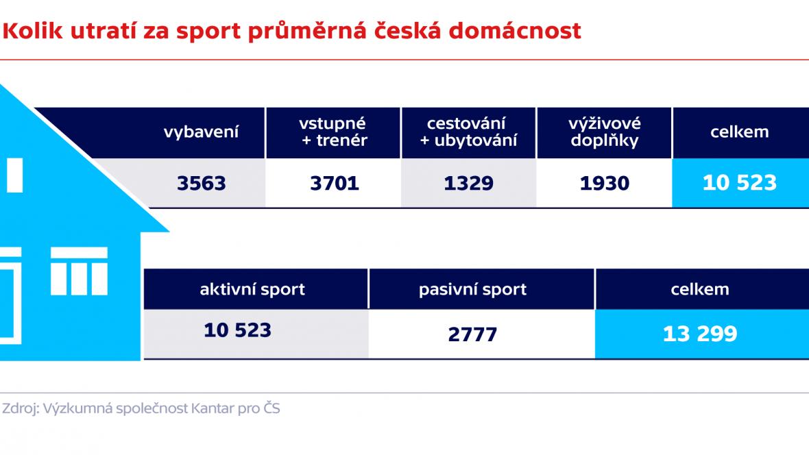 Kolik utratí za sport půměrná česká domácnost